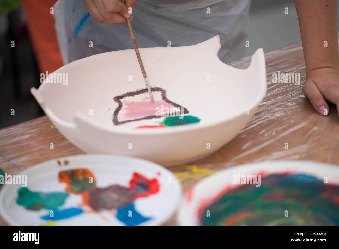 Ceramic Painting Craft Dishes Stock Photos