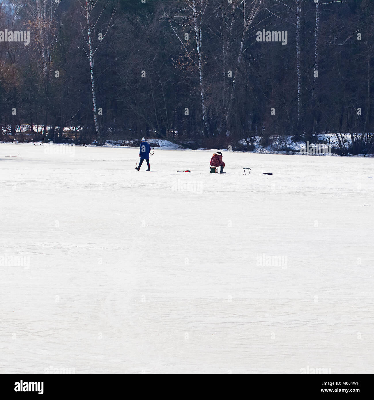 Winter fishing. River, lake near forest in ice. Anglers, Fishermens during your favorite leisure time. Copy space - Stock Image