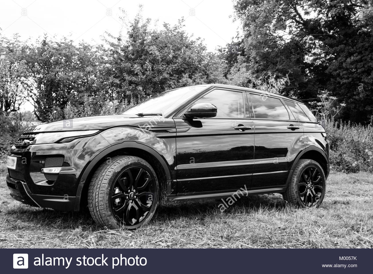 A Land Rover Range Evoque With Black Pack Shot In And White