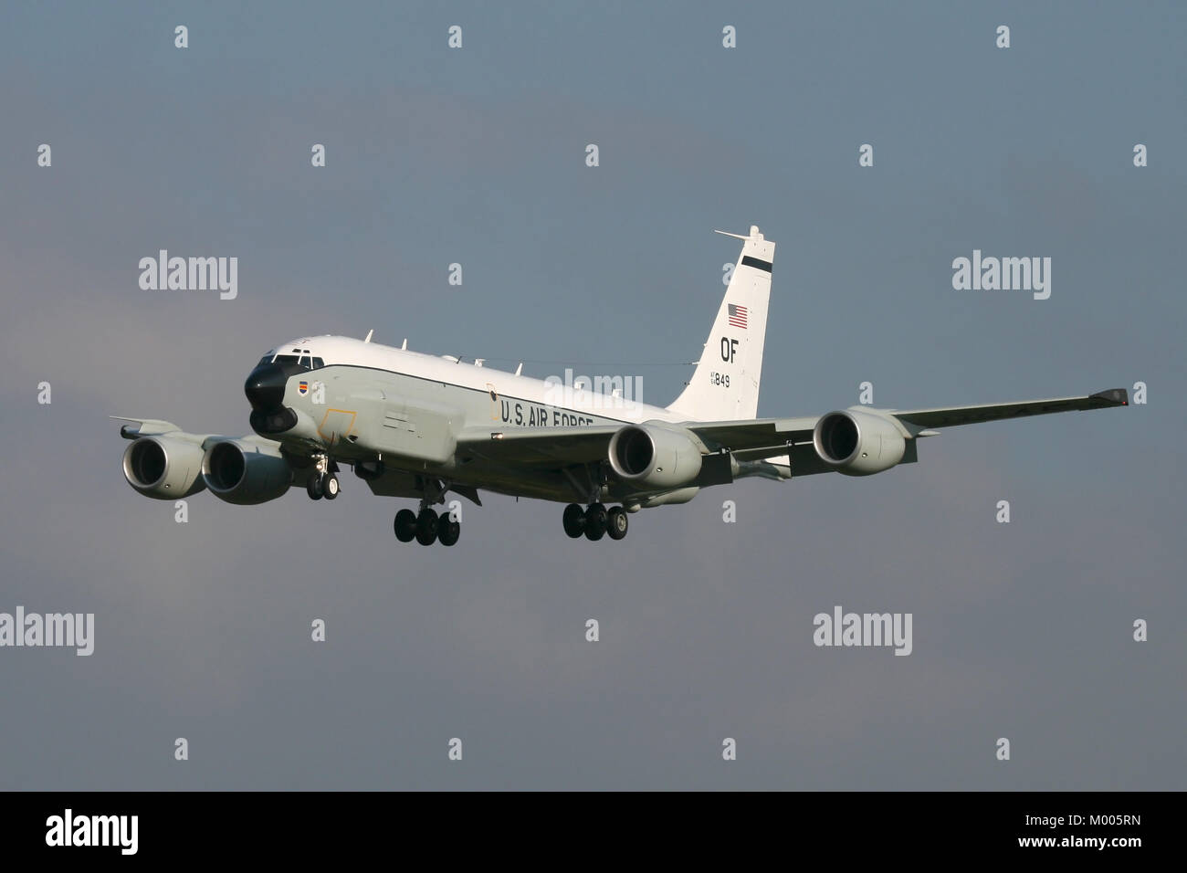 An RC-135U 'Combat Sent' returning to RAF Mildenhall after a intelligence gathering mission into Europe. - Stock Image