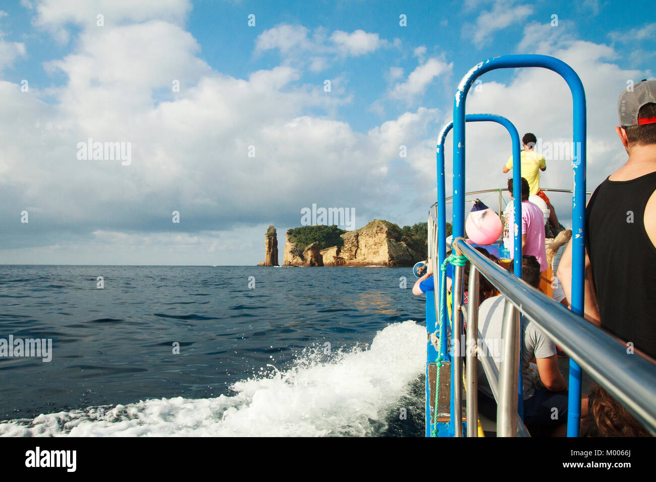 View from the boat taking tourist to islet of Vila franca do Campo from Sao Miguel, Azores, Portugal - Stock Image