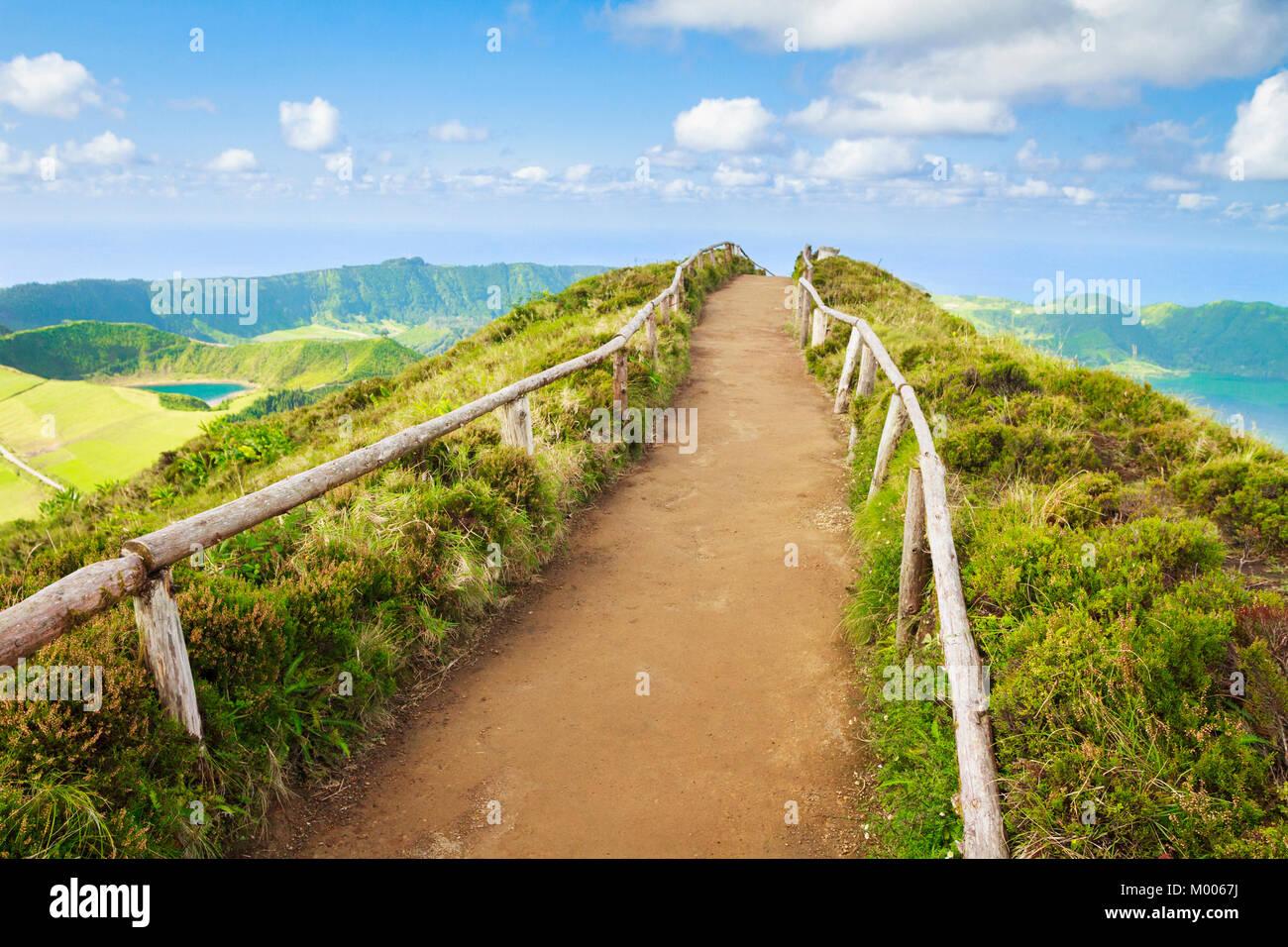 Pathway leading to (viewpoint) Miradouro da Boca do Inferno with the view of Sete Cidades & Atlantic in Sao - Stock Image