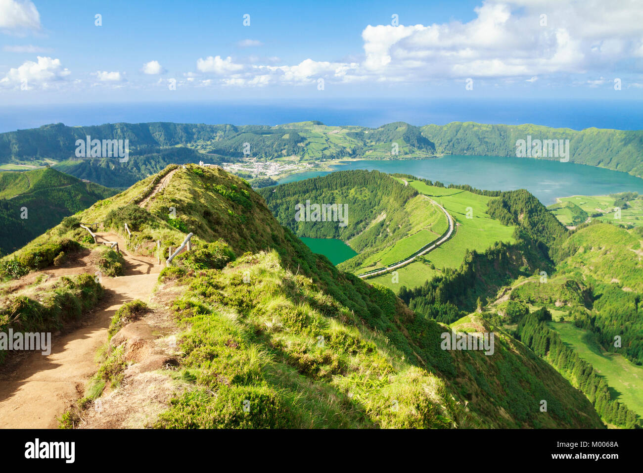 Pathway leading to (viewpoint) Miradouro da Boca do Inferno with the view of Sete Cidades & Atlantic in Sao - Stock Image