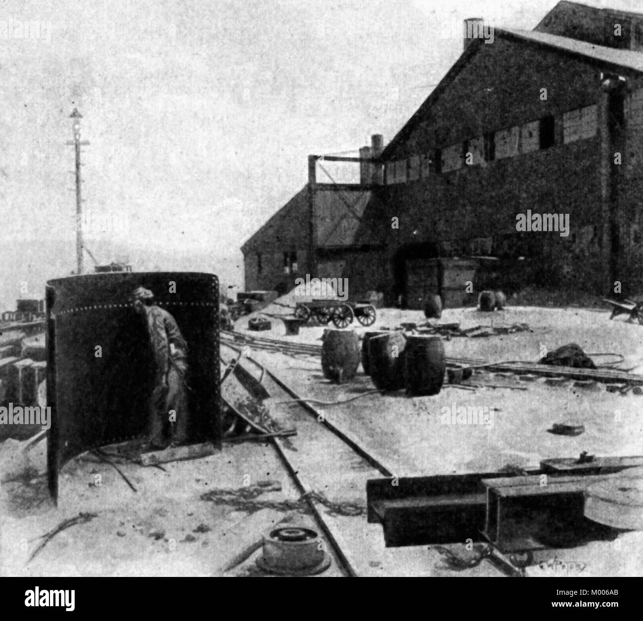 The Carnegie Steel works, showing the shield used by strikers when firing the cannon and watching the Pinkerton - Stock Image
