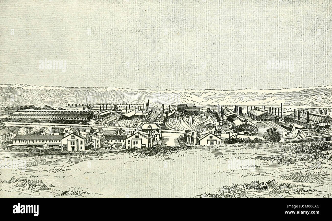 General View of the Homestead Mills, circa 1890 - Stock Image