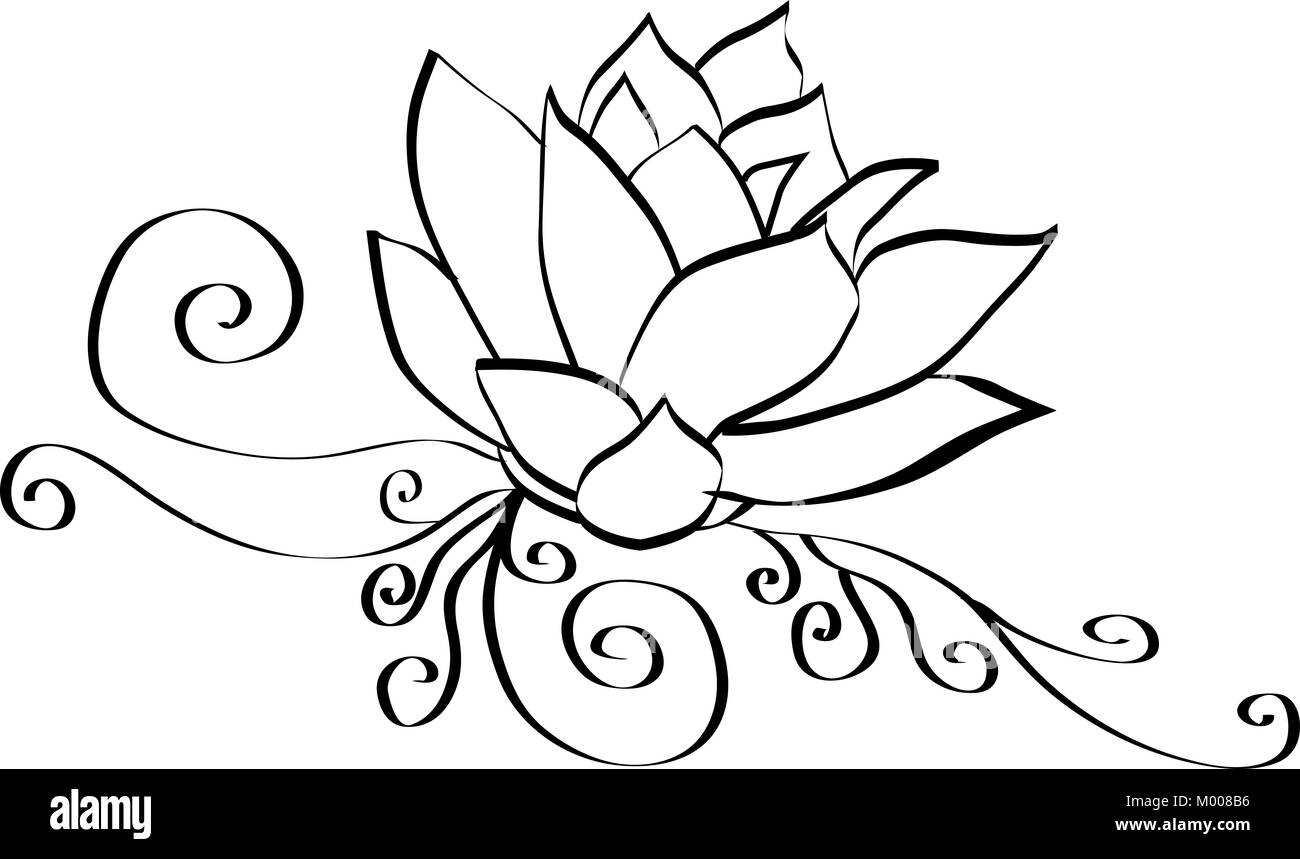 Black and white lotus flower outline stock photo 172110266 alamy black and white lotus flower outline mightylinksfo