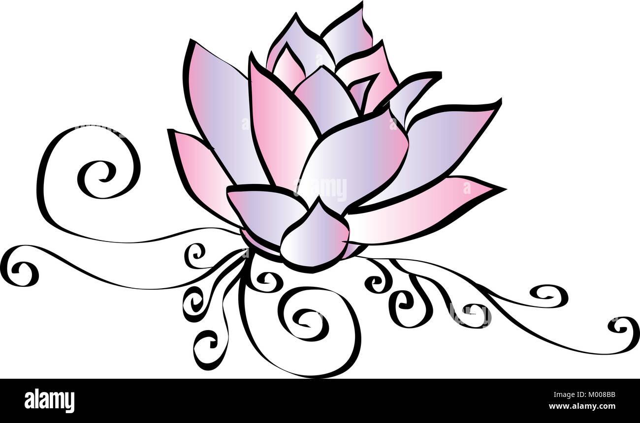 Elegant Pink And Purple Lotus Drawing Stock Photo 172110271 Alamy