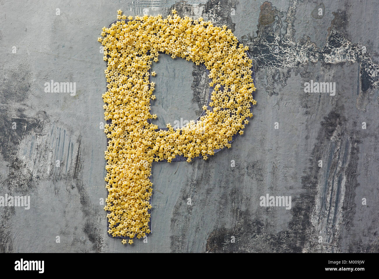 Alphabet made of pasta. Letter P - Stock Image