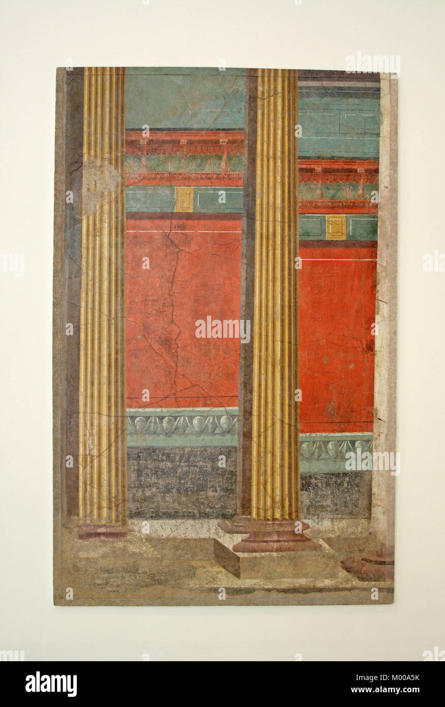 Wall painting with illusionistic architecture from the Late Roman Republican era (50-40 BC), The Metropolitan Museum - Stock Image