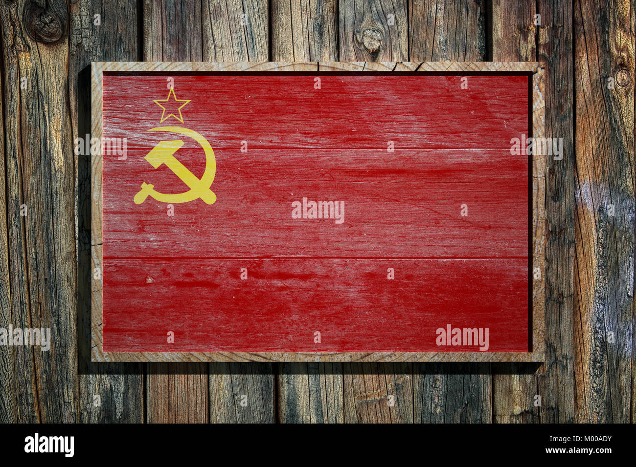 3d rendering of an old Soviet Uinon flag on a wooden frame and a ...
