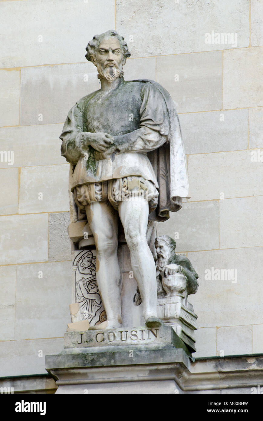 Paris, France. Palais du Louvre. Statue in the Cour Napoleon: Jean Cousin the Elder (c1500-1560) French painter, - Stock Image