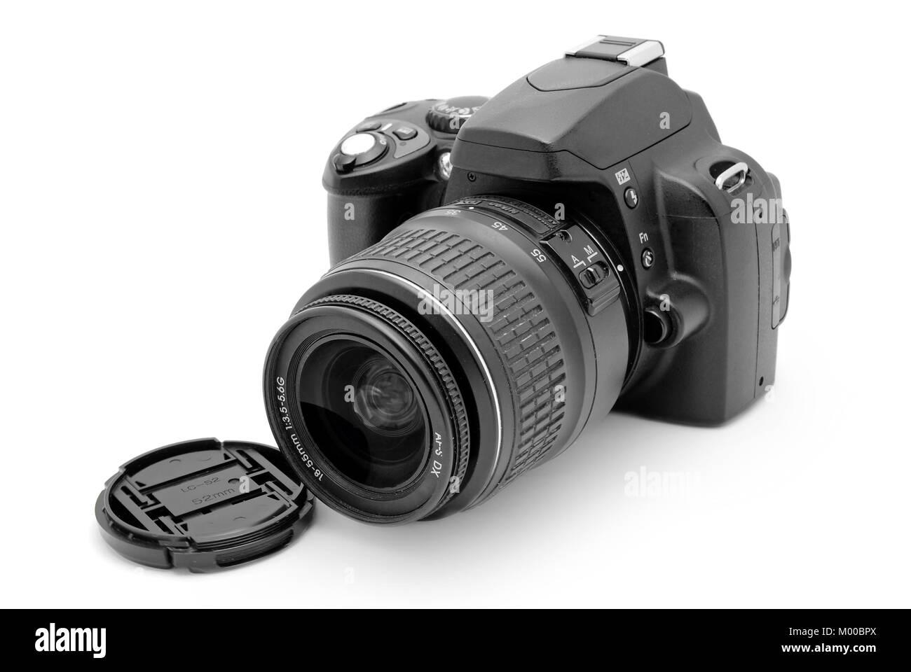 dslr photo camera isolated - Stock Image