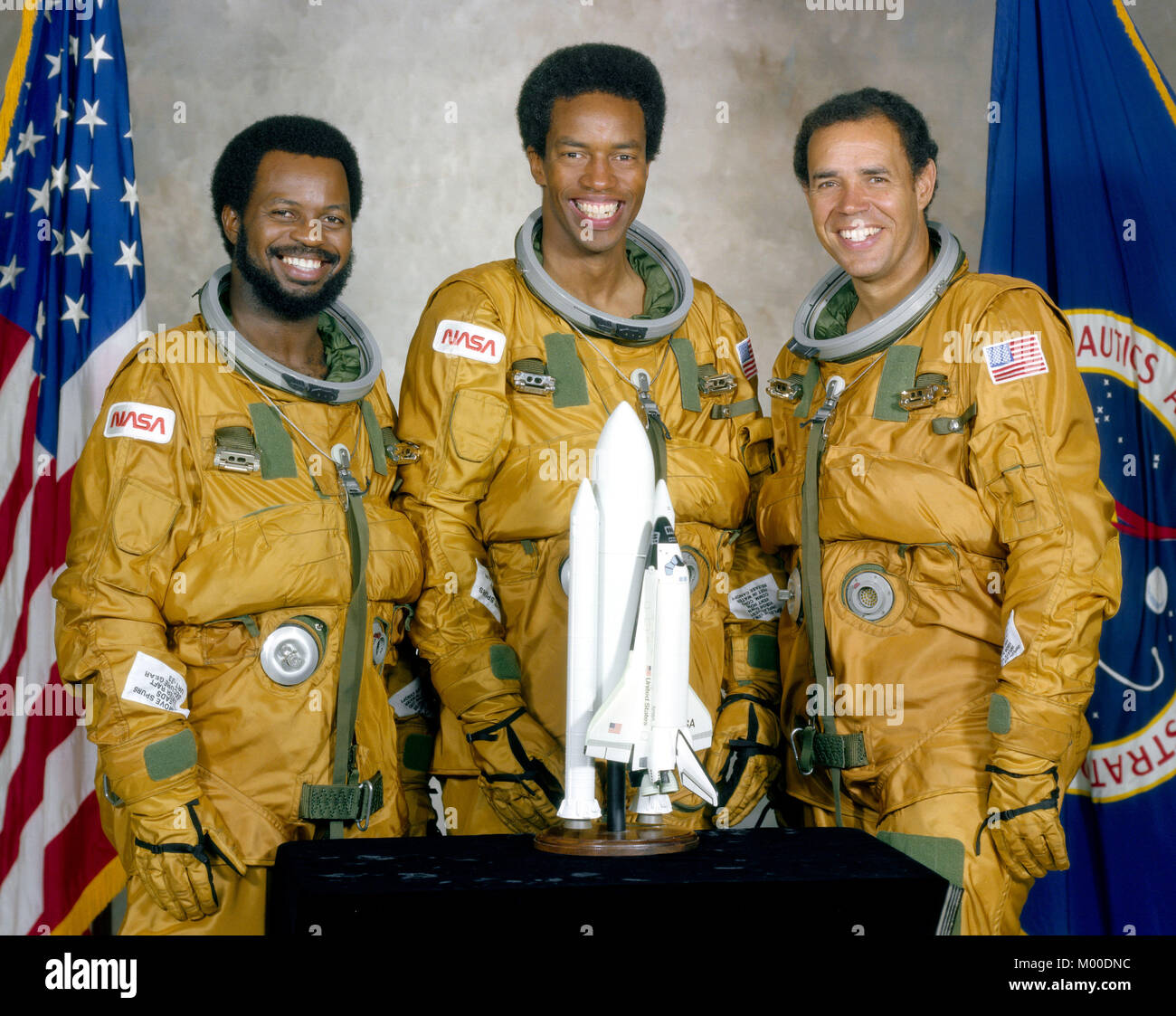 Dr. Ronald McNair, Guy Bluford and Fred Gregory, the first African Americans in NASA's astronaut program. The - Stock Image