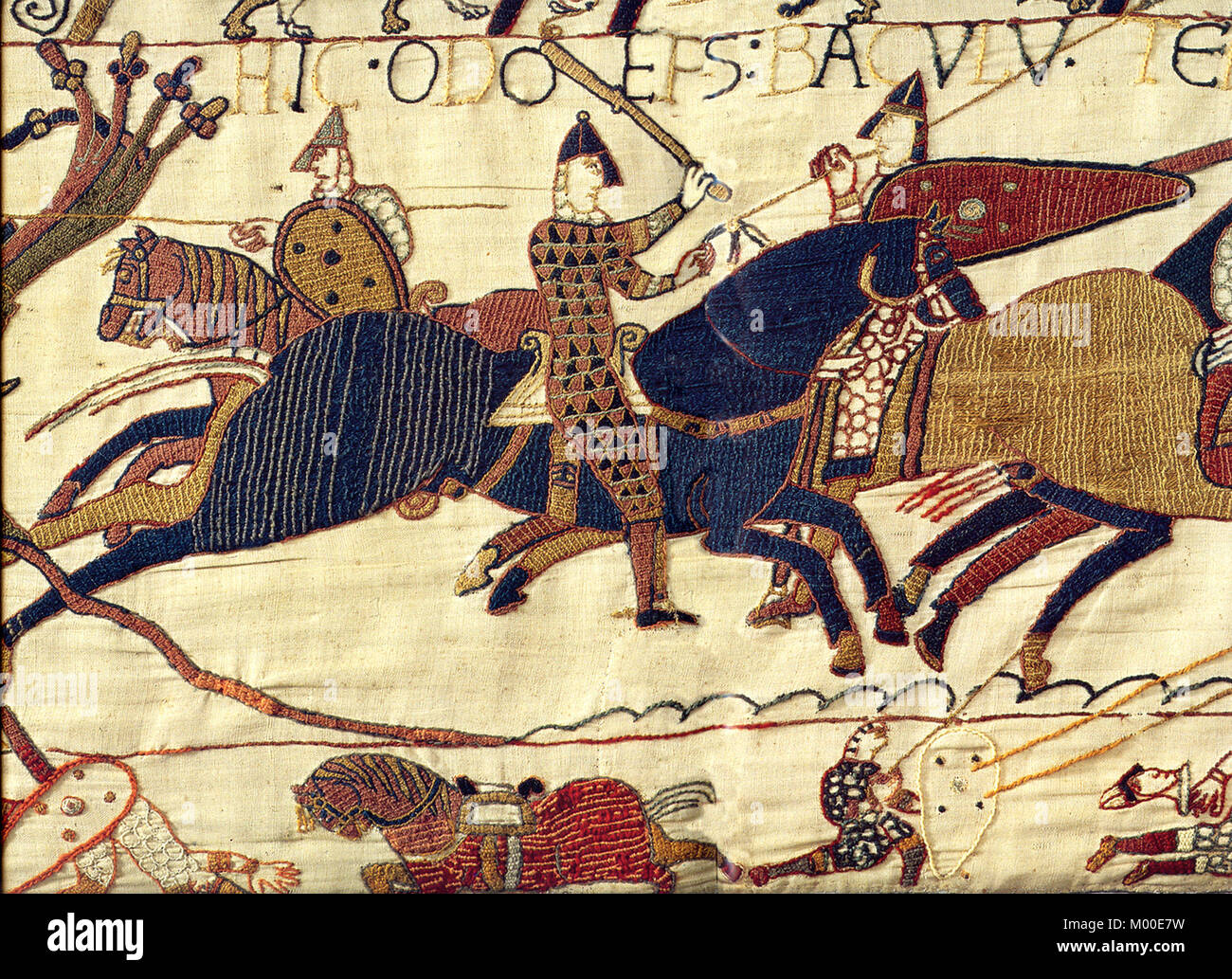 Bayeux Tapestry, A segment of the Bayeux Tapestry, depicting Odo, Bishop of Bayeux, rallying Duke William's - Stock Image