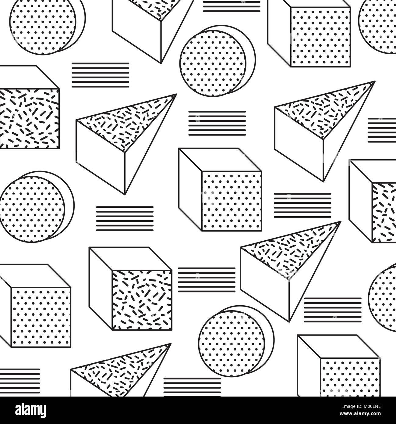seamless pattern with geometric 3d shapes in memphis style Stock Vector