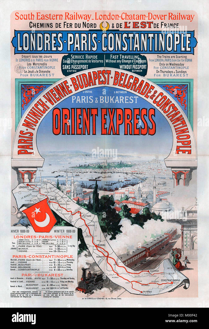 Poster advertising the Orient Express train journey between London and Constantinople (Istanbul) in 1888. - Stock Image