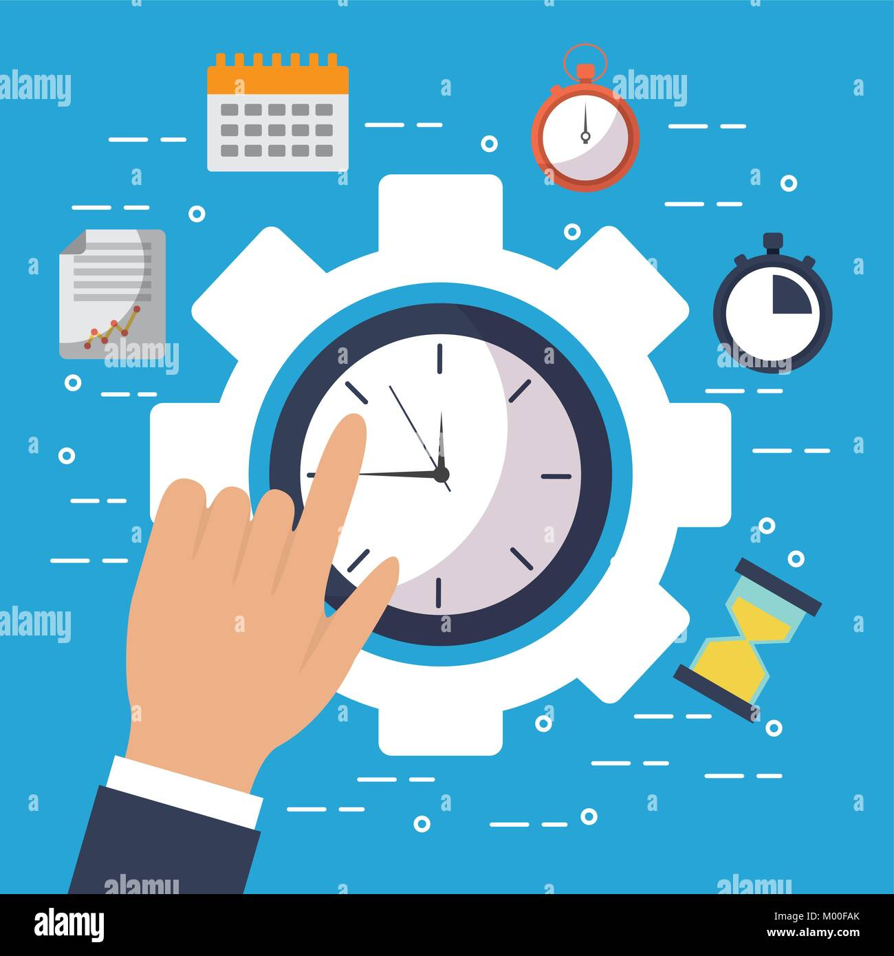 hand touch clock time gear work business - Stock Vector