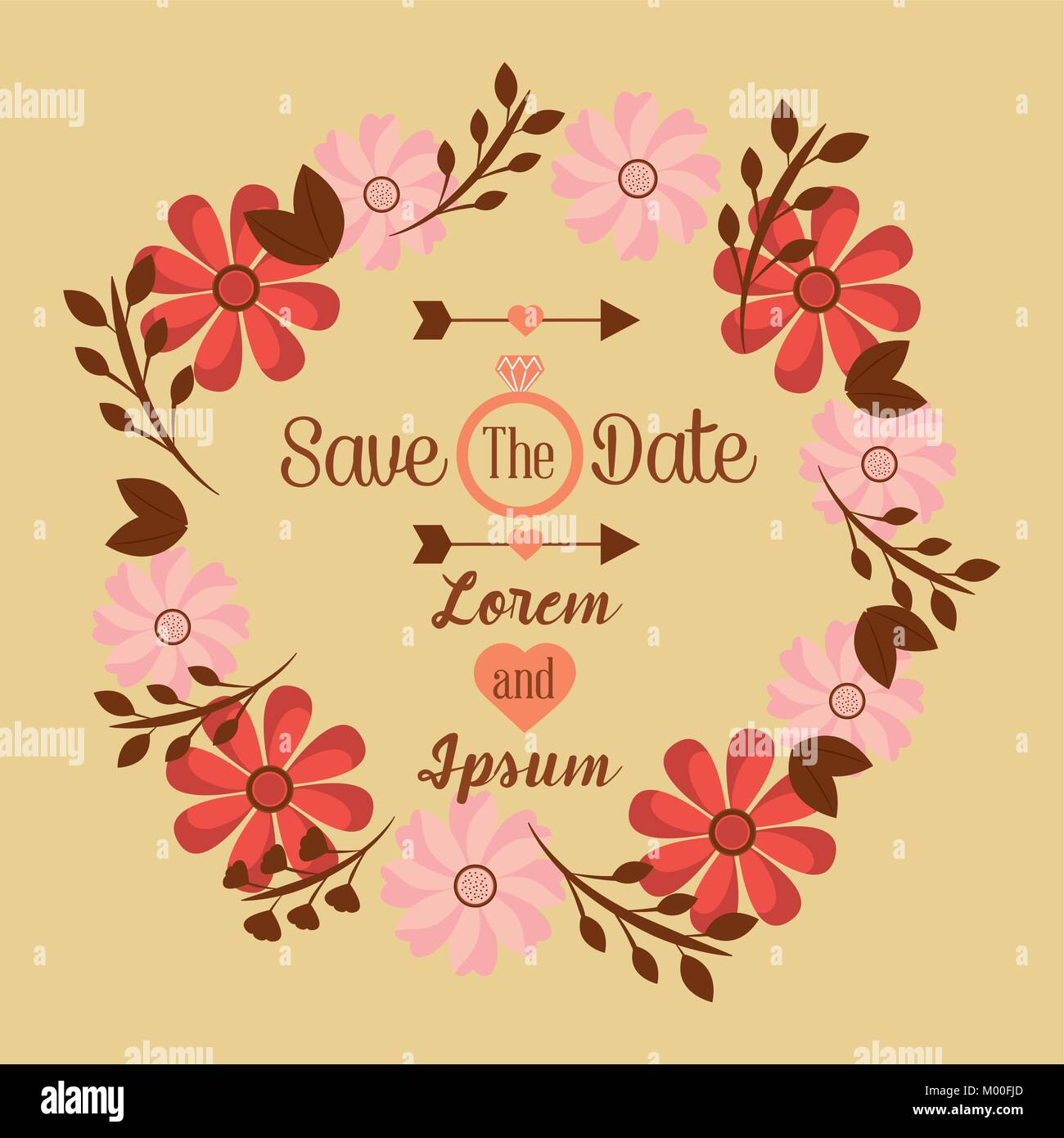 save the date wedding invitation design template floral frame Stock ...