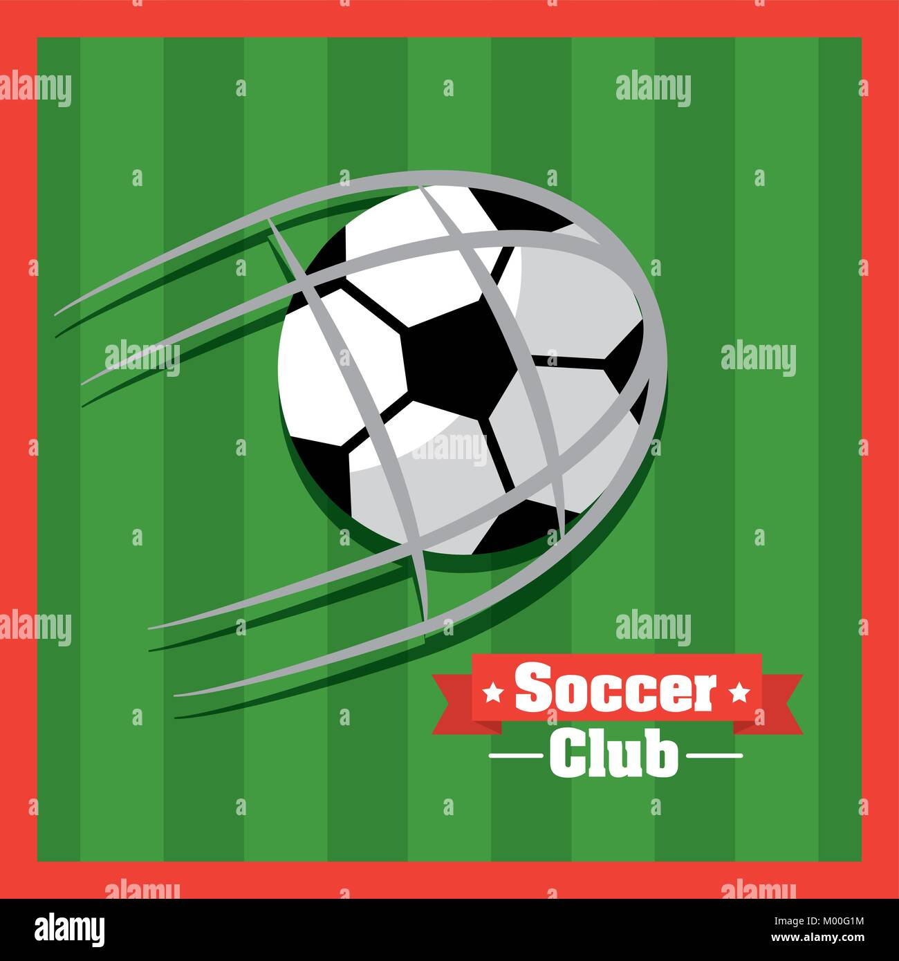 soccer club ball goal red green background - Stock Vector