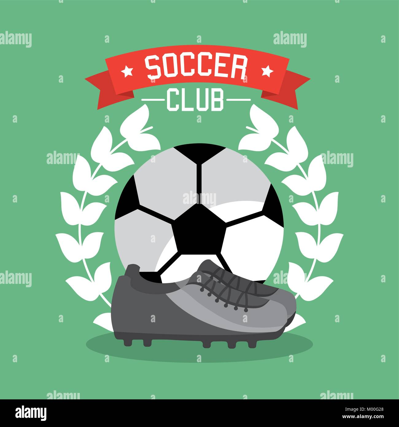 soccer club ball sneaker laurel championship - Stock Vector