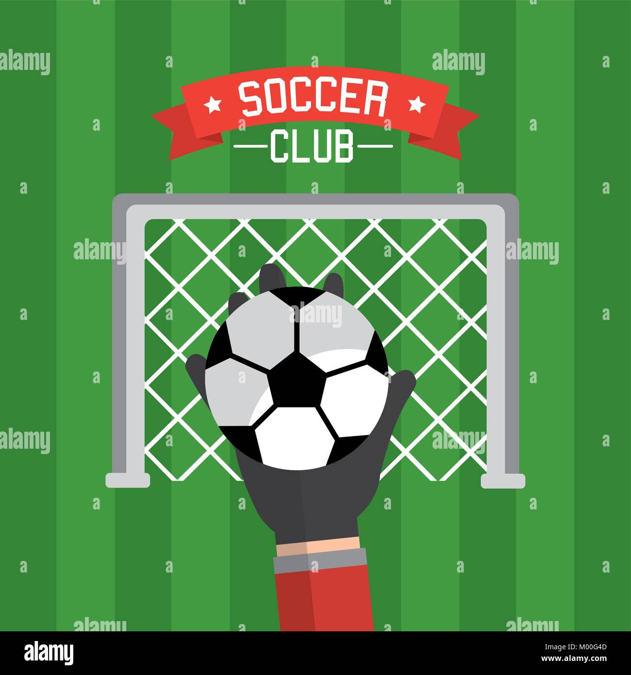 soccer club hand goalkeeper ball and red - Stock Vector
