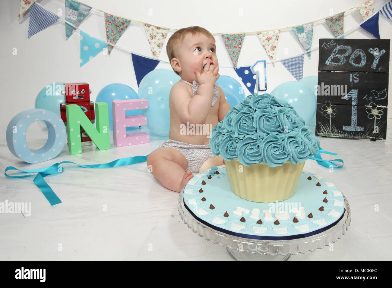 Incredible 1 Year Old Boy Birthday Party Cake Smash Fun Food Stock Photo Personalised Birthday Cards Cominlily Jamesorg