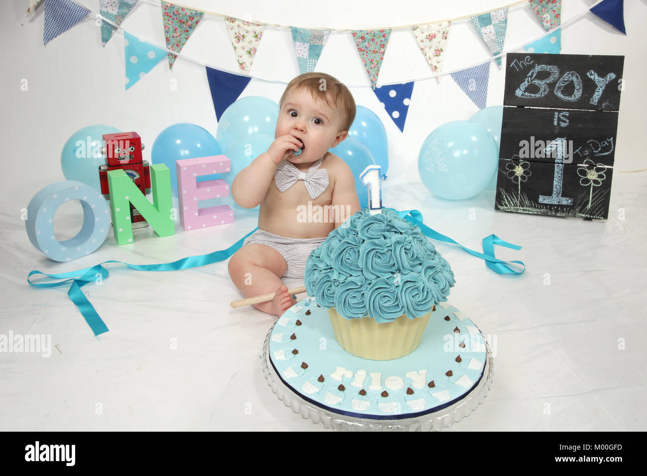 Terrific 1 Year Old Boy Birthday Party Cake Smash Fun Food Stock Photo Personalised Birthday Cards Veneteletsinfo