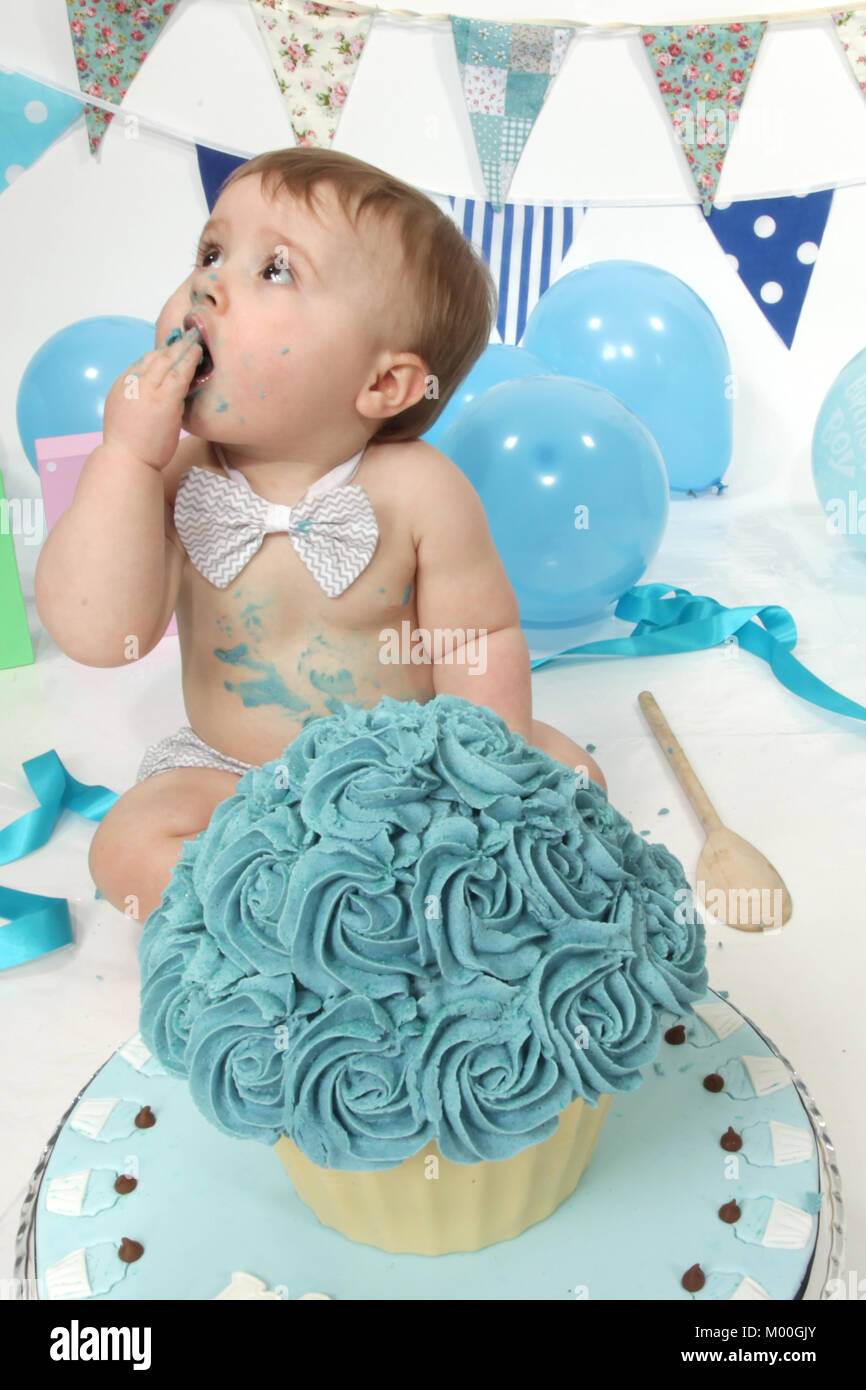 Pleasing 1 Year Old Boy Birthday Party Cake Smash Fun Food Stock Photo Personalised Birthday Cards Veneteletsinfo