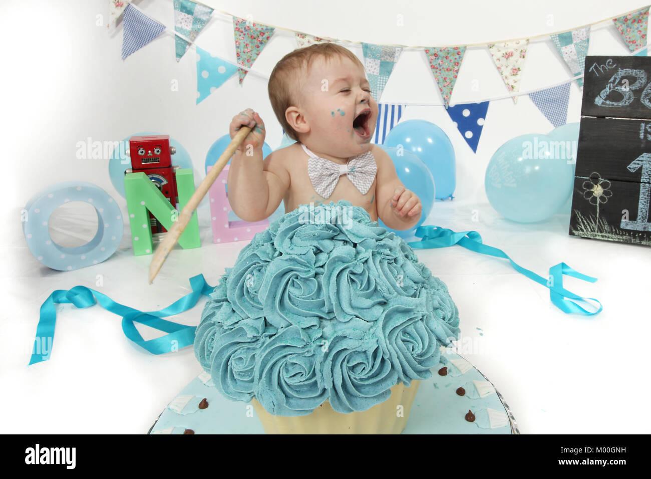 Super 1 Year Old Boy Birthday Party Cake Smash Fun Food Stock Photo Birthday Cards Printable Inklcafe Filternl
