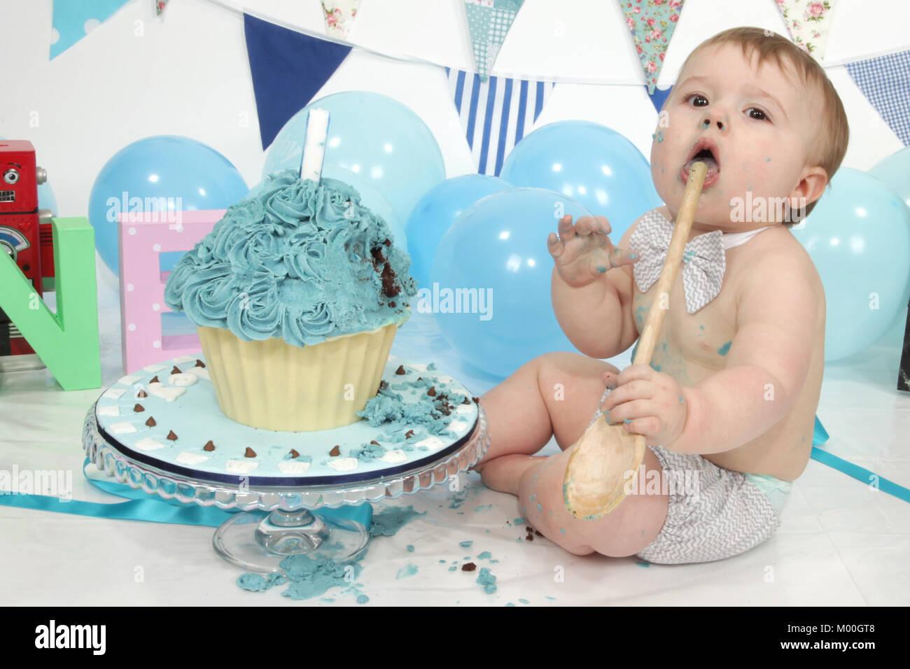Stupendous 1 Year Old Boy Birthday Party Cake Smash Fun Food Stock Photo Funny Birthday Cards Online Elaedamsfinfo