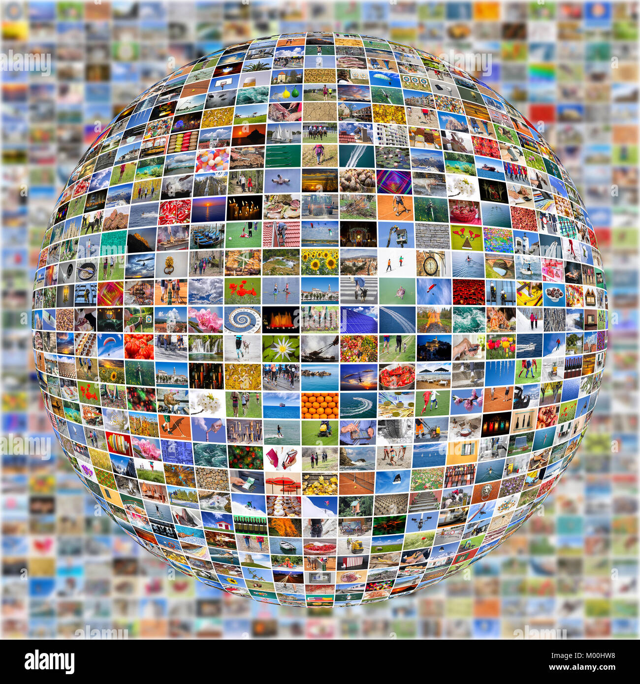 Big Multimedia Video Wall Sphere at tv screens showing living in the world - Stock Image