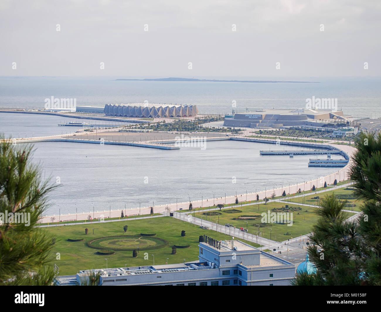 BAKU, AZERBAIJAN-DECEMBER 28, 2017: Panorama of the Baku. View frome above on the Crystal Hall. Stock Photo