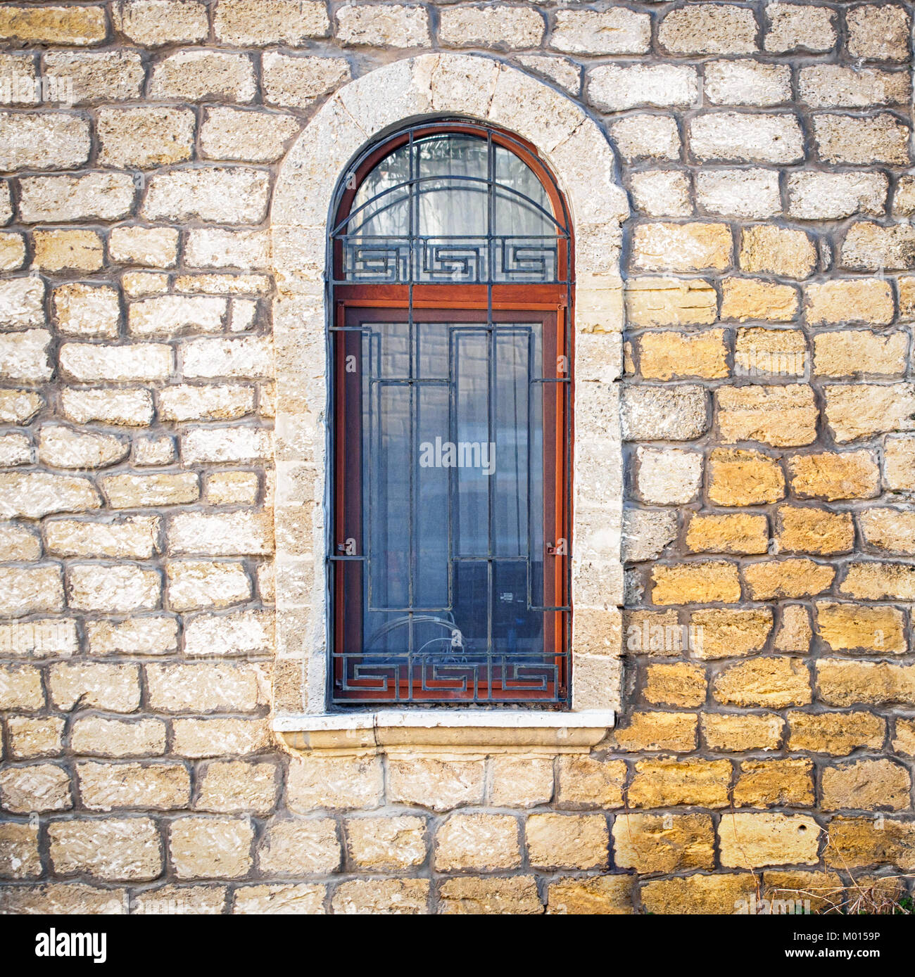 Asian style ancient window in Baku old town - Stock Image