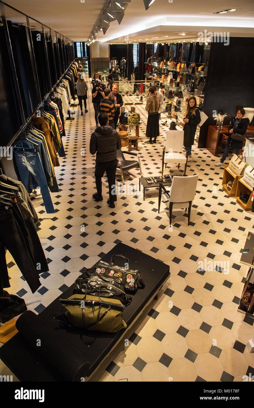 Inside Colette fashion store Paris - Stock Image