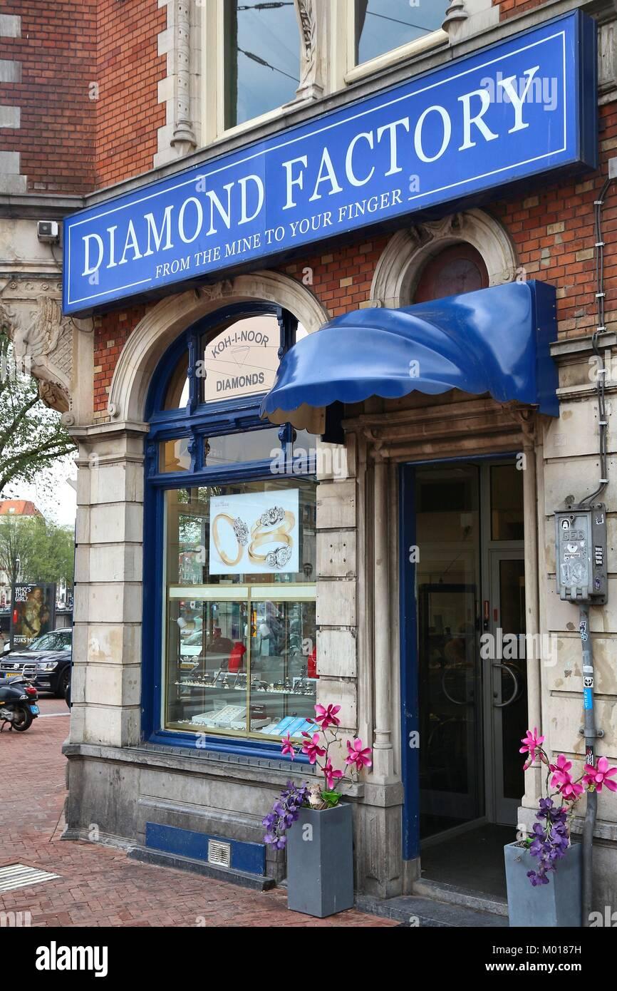 AMSTERDAM, NETHERLANDS - JULY 8, 2017: Diamond factory shop Koh-i-noor in Amsterdam, Netherlands. Amsterdam has - Stock Image