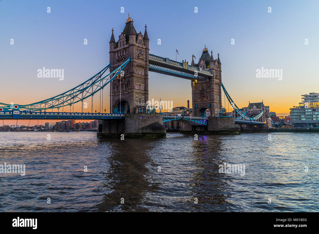 Tower Bridge, River Thames, London. Stock Photo
