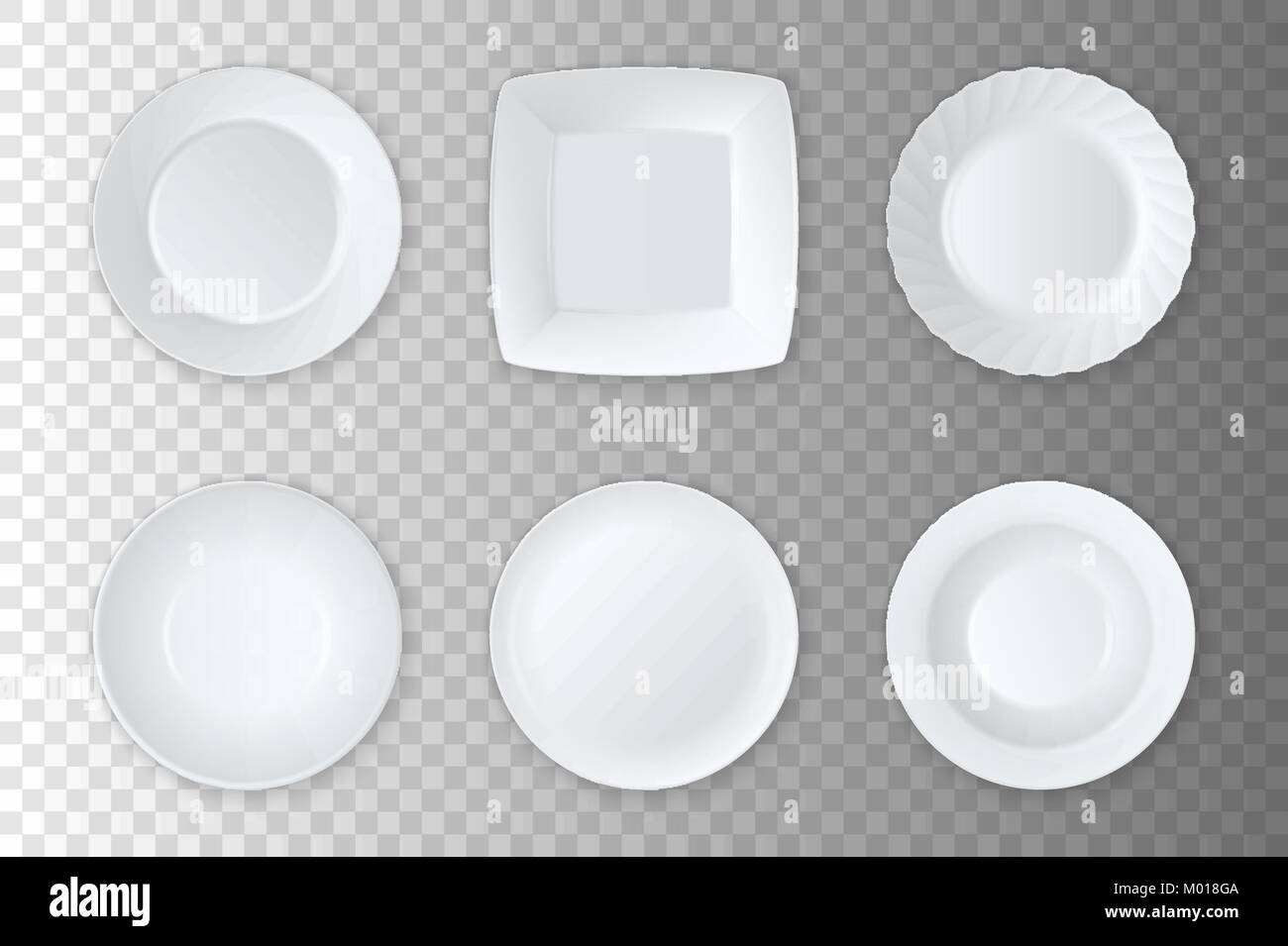 Realistic vector white empty food plate, dish and bowl icon set ...