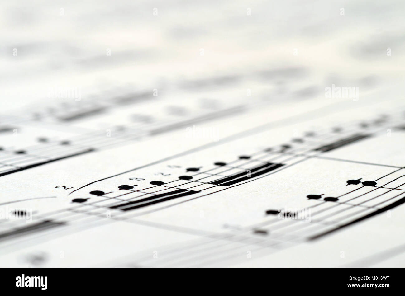 Music score background : piano notes close up Stock Photo