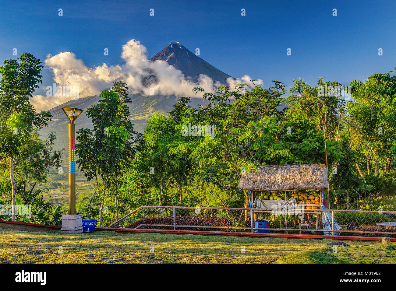 Mount Mayon stratovolcano viewed from the Mount Mayon Natural Park viewing area in Central Bikol area of Albay Region - Stock Image
