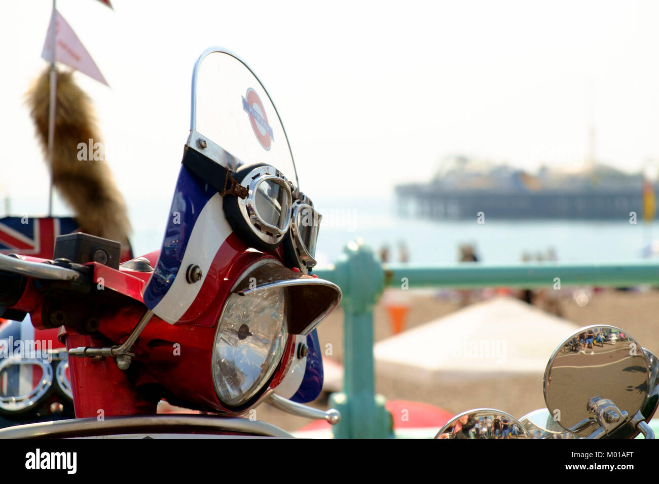 Mods Vespa scooter on Brighton seafront - Stock Image