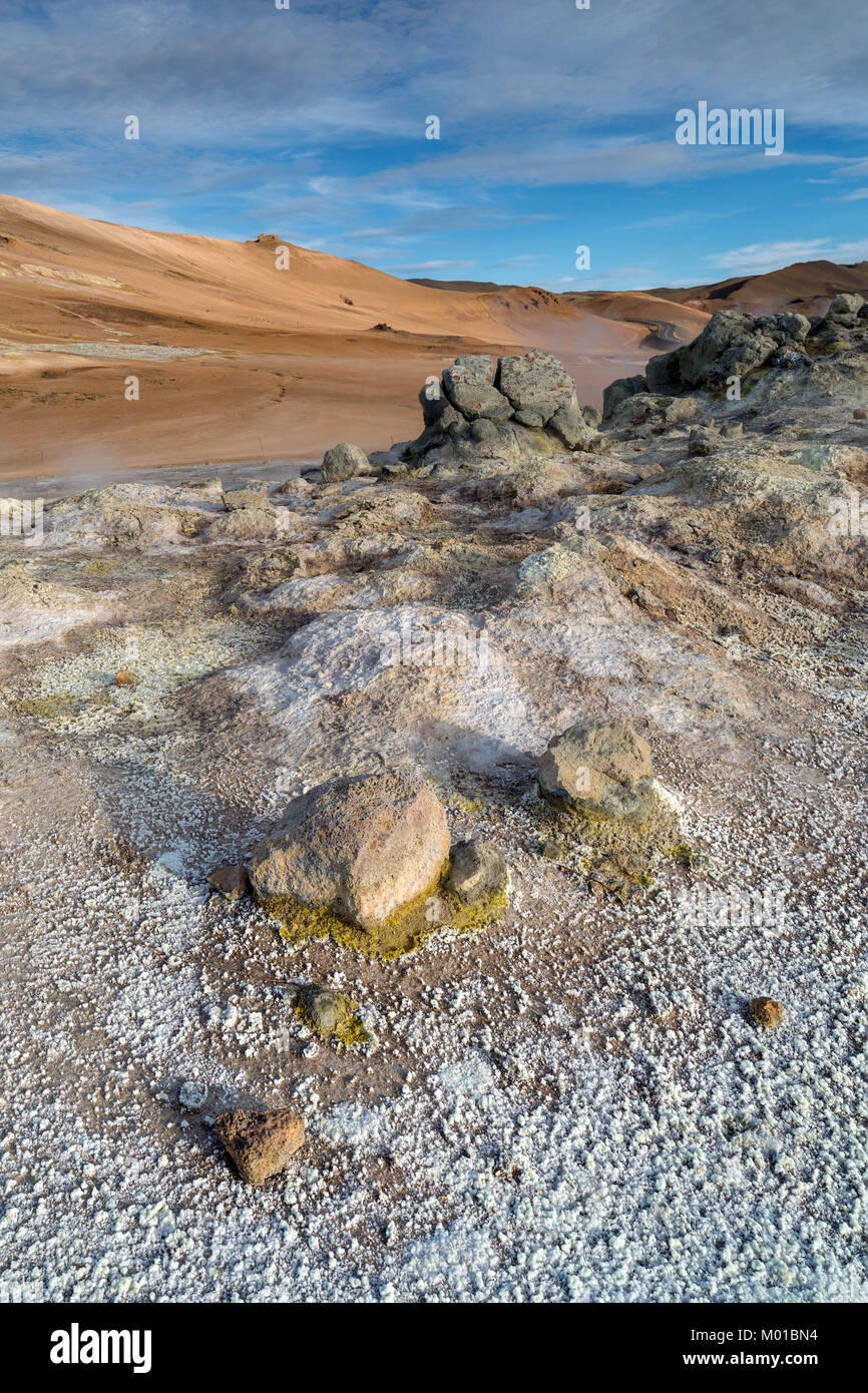 Detail of the geothermal landscape and boiling mudpot of Hverarond in Iceland. - Stock Image