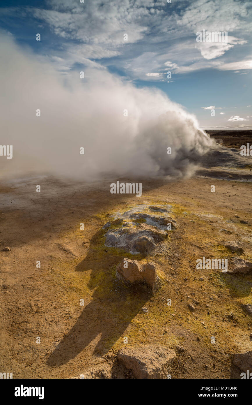 Steam coming from a fumarole or volcanic vents at Hverarond in Iceland. - Stock Image