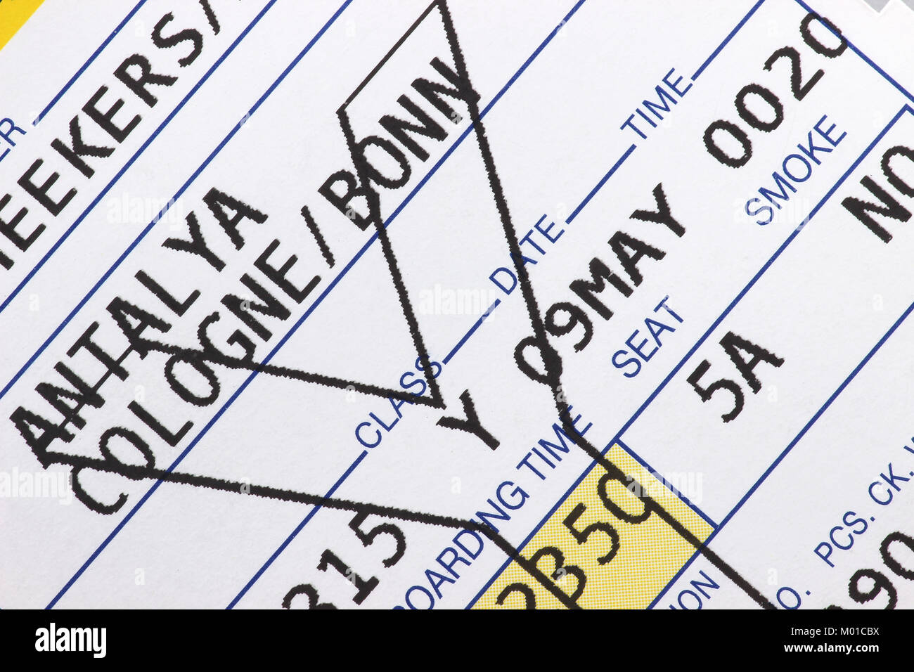 close up of air travel boarding pass - Stock Image