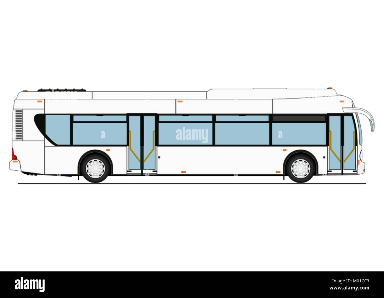 Great Cartoon City Low Floor Bus. Side View. Flat Vector.