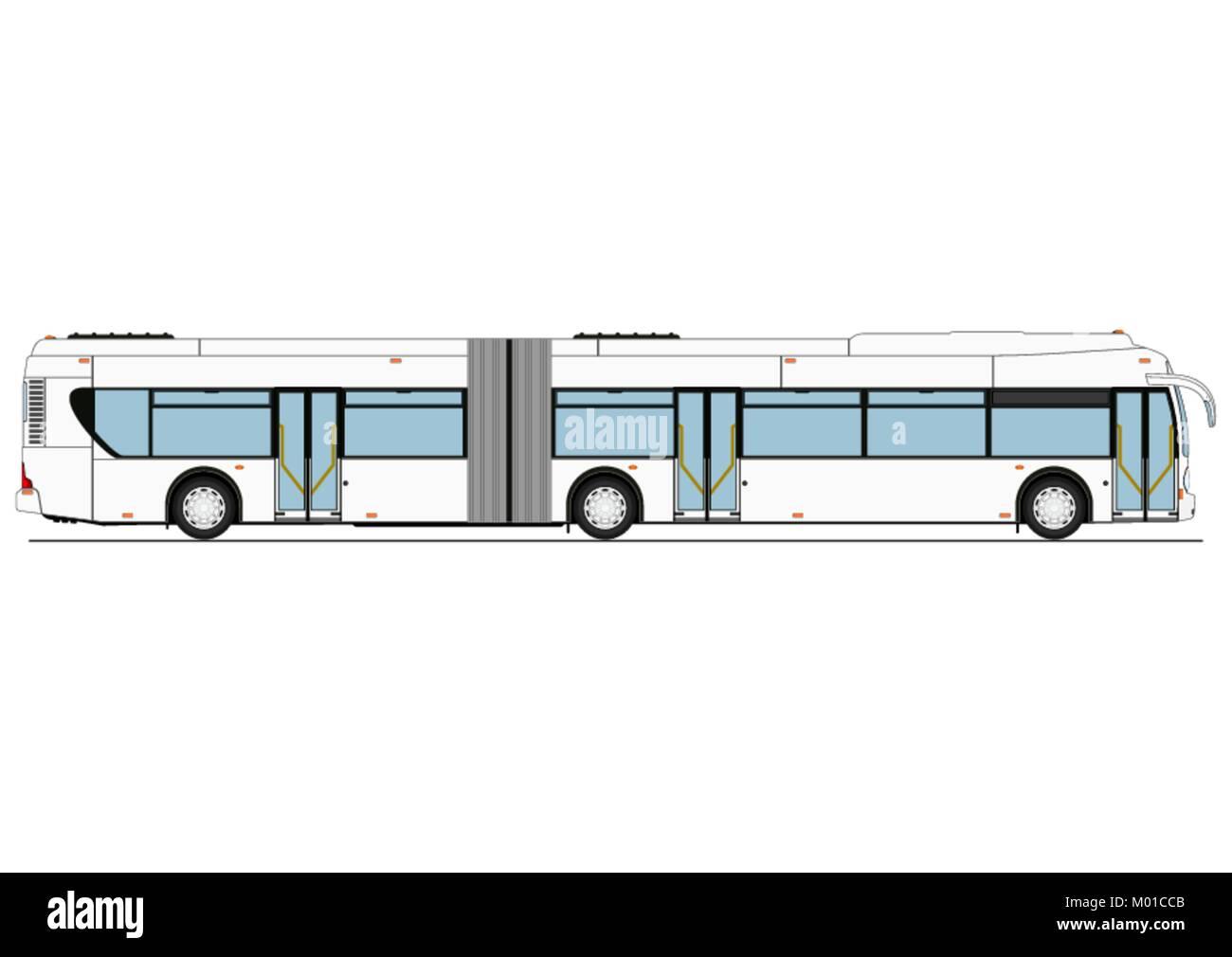 Cartoon City Low Floor Bus. Side View. Flat Vector.