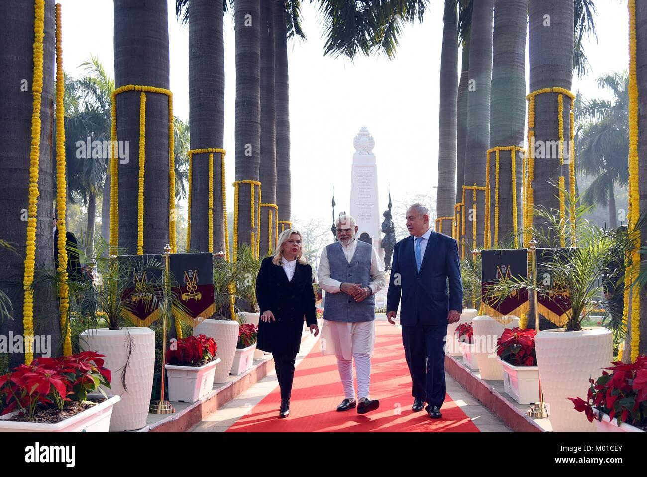 Indian Prime Minister Narendra Modi escorts Israeli Prime Minister Benjamin Netanyahu and wife Sara Netanyahu, left, - Stock Image