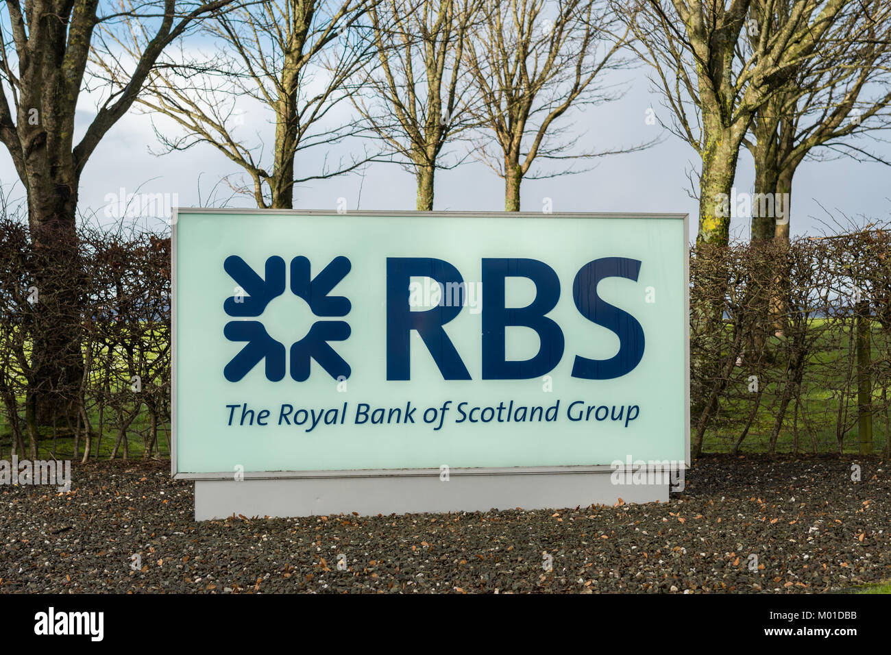 RBS Royal Bank of Scotland sign outside the Mortgage Centre in Greenock, Inverclyde, Scotland, UK - Stock Image