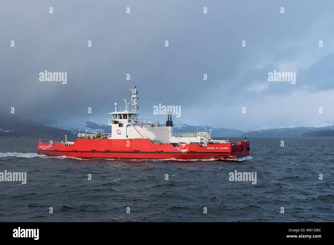 Western Ferries MV Sound of Scarba crossing the Firth of Clyde from Hunters Quay Dunoon approaching McInroys Point, - Stock Image