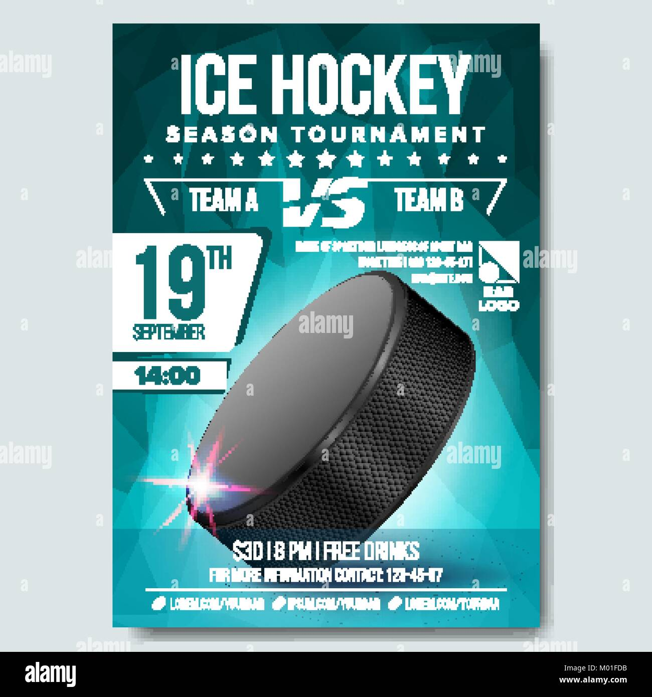 Ice Hockey Poster Vector Banner Advertising A4 Size Sport Event Announcement Winter Game League Design Championship Illustration