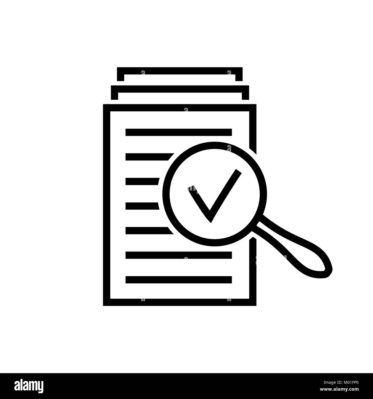 Magnifying glass icon, search documents sign - Stock Vector